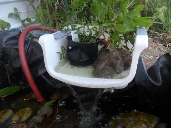 Cheap and simple pond waterfall with pics and instructions for Cheap garden ponds